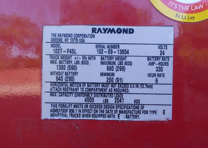 Fl354 Raymond 102t F45l Electric Pallet Jack Fl354