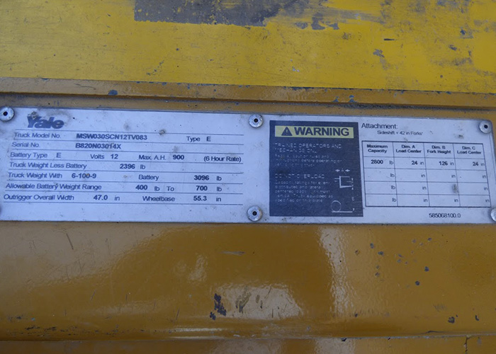 FL526 - Yale MSW030SCN12TV083 Walkie Stacker